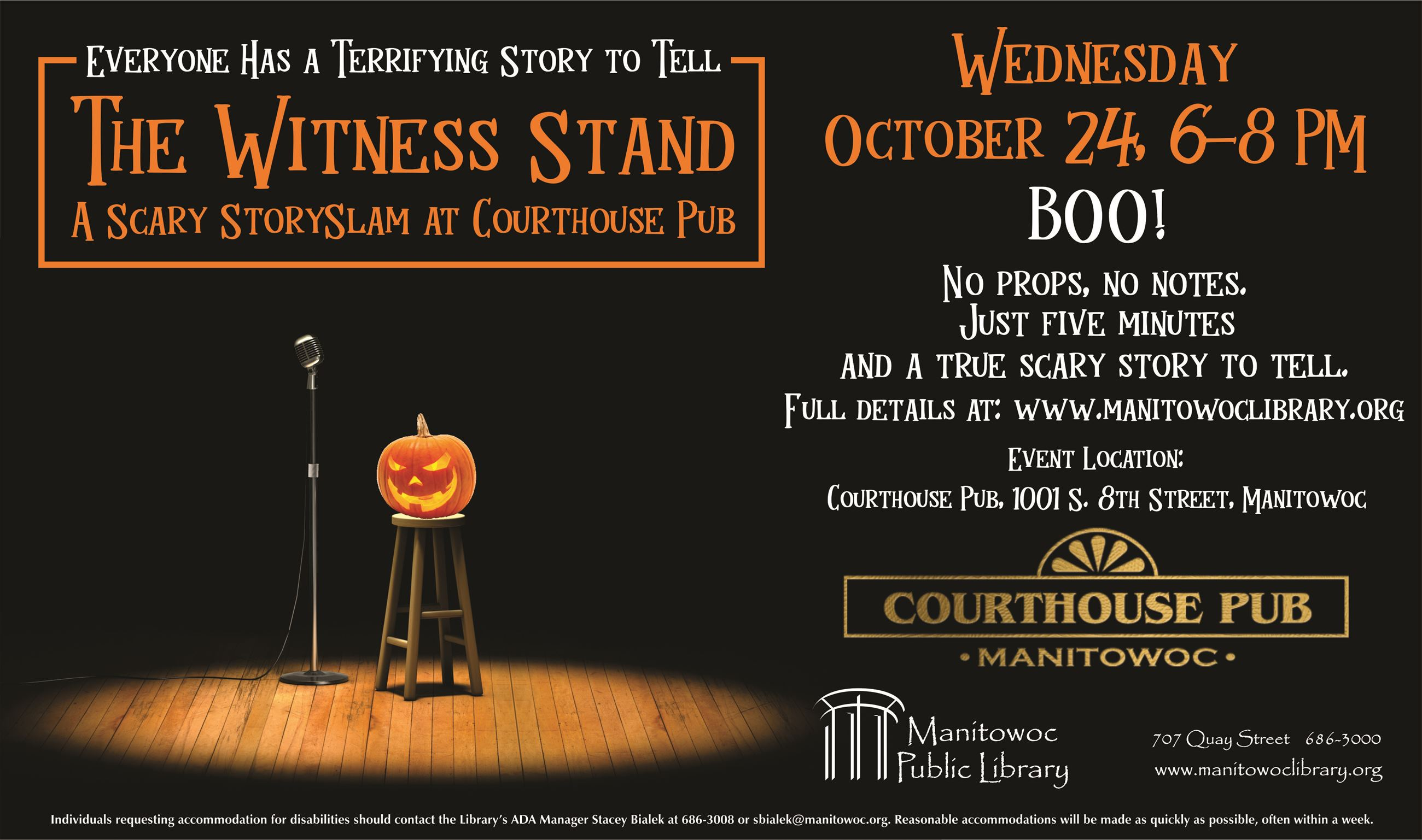 Witness Stand Scary StorySlam Horizontal Poster