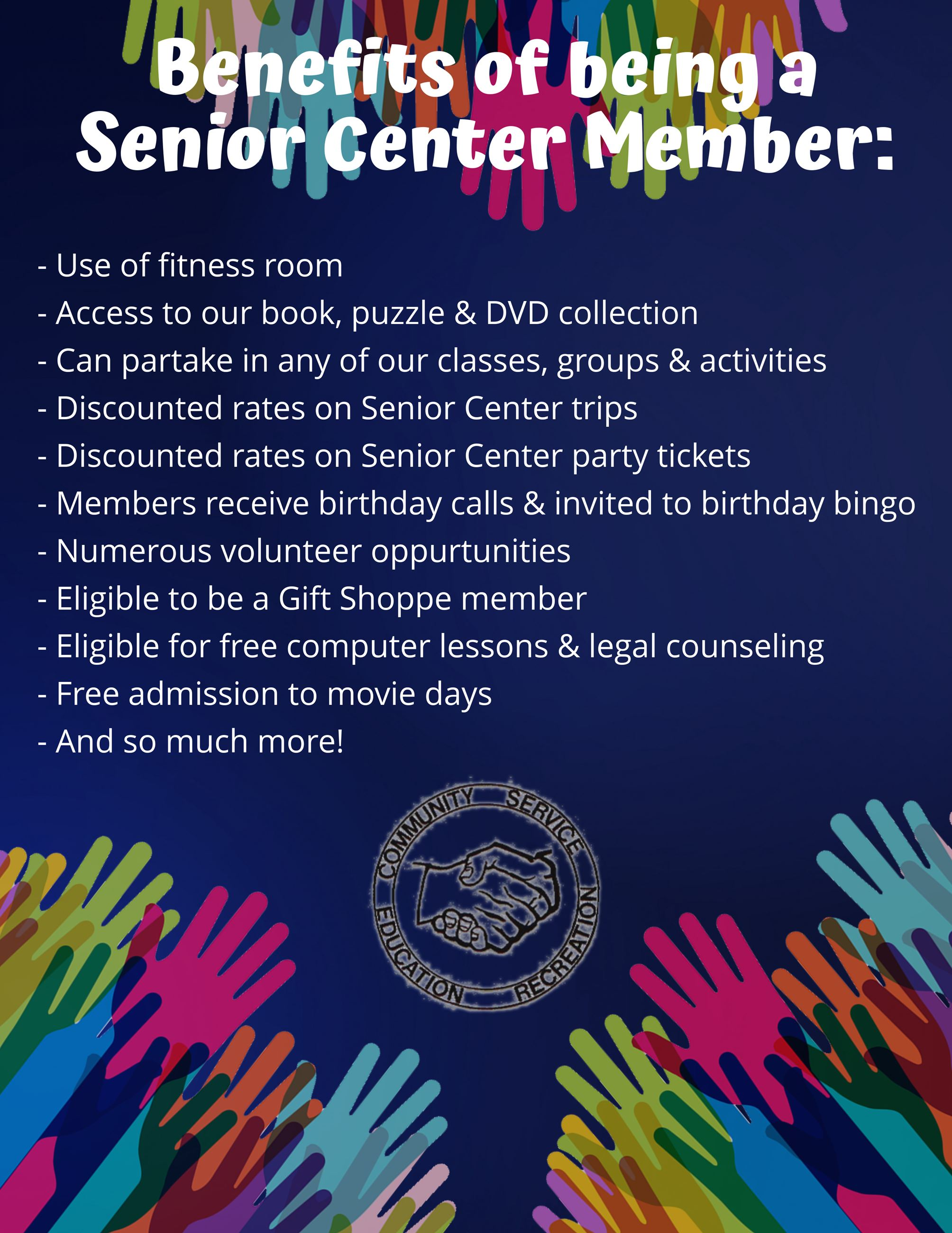 Benefits of being a Senior Center Member