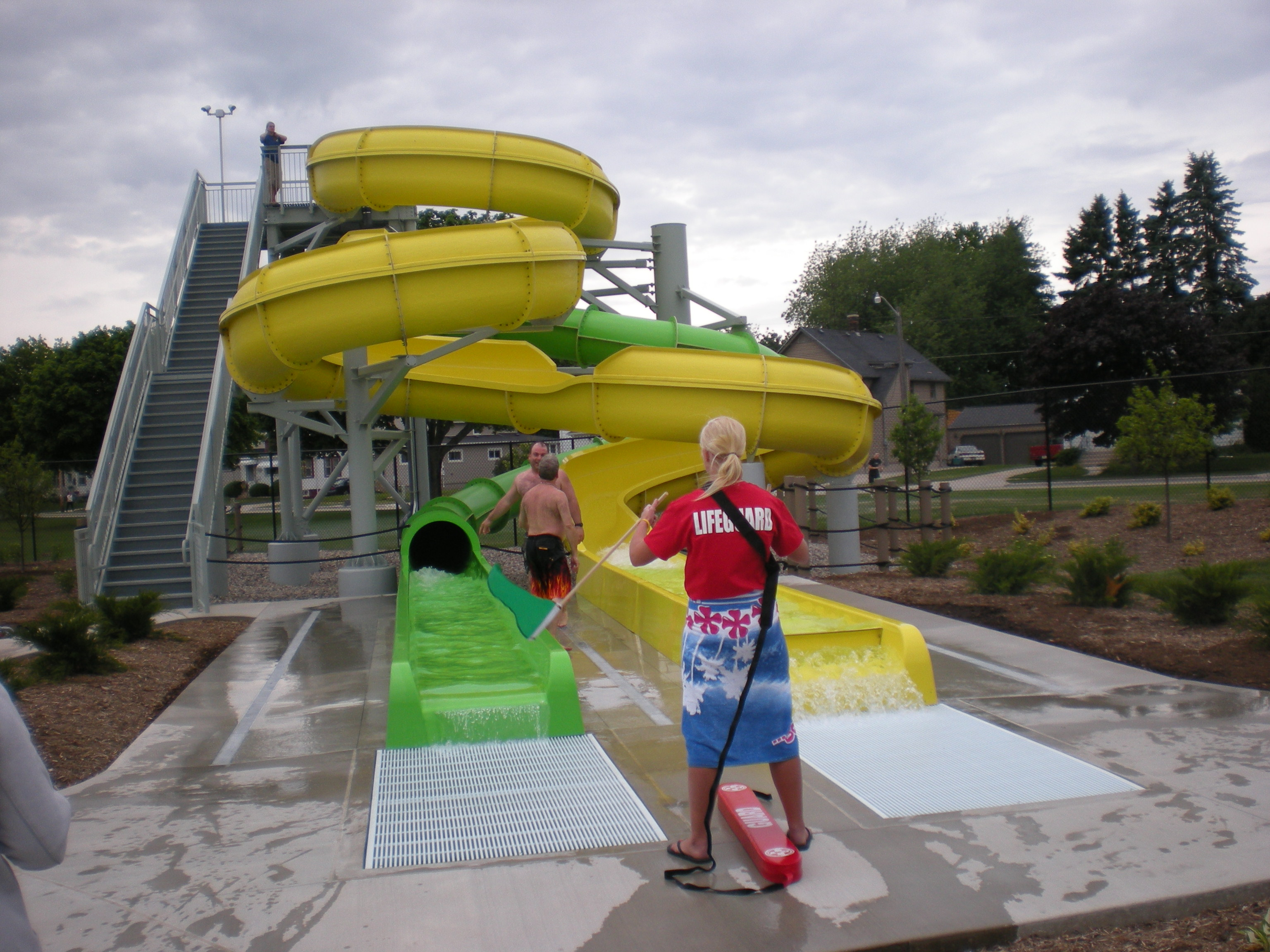 Lifeguards Watching over Extreme Slides
